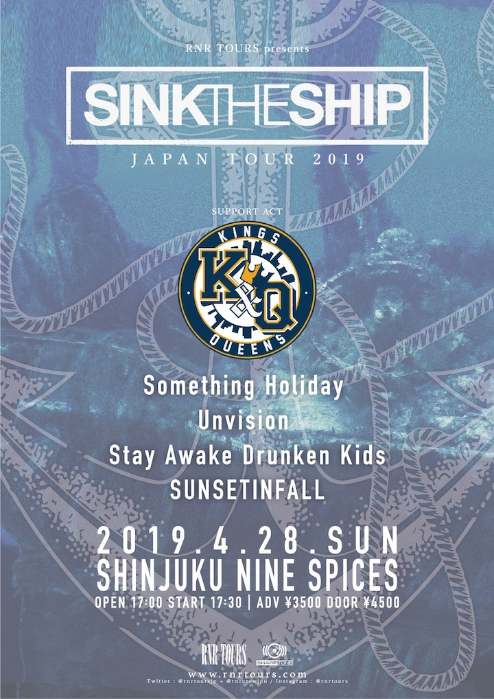 RNR TOURS presents「SINK THE SHIP JAPAN TOUR 2019」